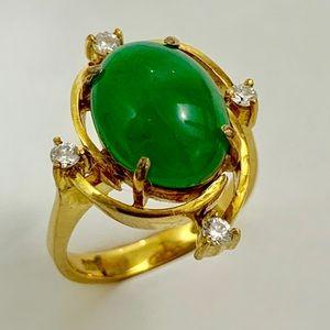 Cabochon Oval Jadeite Jade Ring